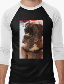 Christmas Day Portrait - Boxer Dogs Series Men's Baseball ¾ T-Shirt