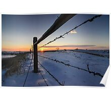 Snowy Sunrise against Barbed Wire Poster