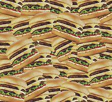 Vintage Pile of Cheeseburgers Print by RexLambo