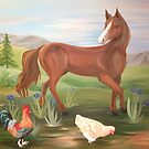 Horse and Hens by L.W. Turek