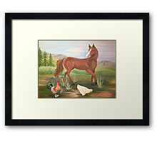 Horse and Hens Framed Print