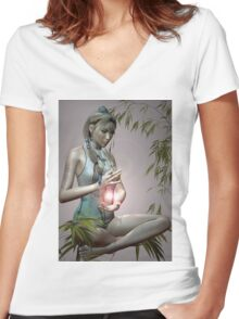 Tranquil Emotions Women's Fitted V-Neck T-Shirt
