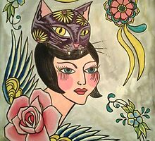 Crazy Cat Lady and the Flying Rose by megansnyder
