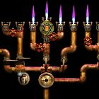 Steampunk - Plumbing - Lighting the Menorah by Mike  Savad