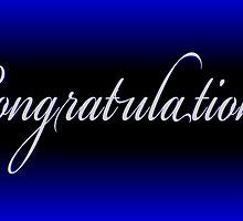 Classy black neon blue Congratulations card by artisticattitud