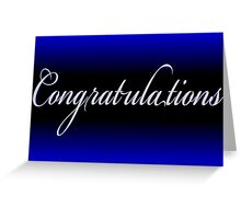 Classy black neon blue Congratulations card Greeting Card