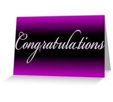 Classy black neon purple Congratulations card Greeting Card