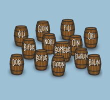 Dwarves in barrels from The Hobbit Kids Tee