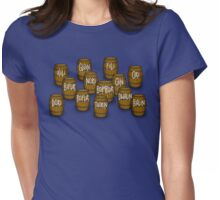 Dwarves in barrels from The Hobbit Womens Fitted T-Shirt