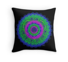 sdd Maria Heart green pink blue Fractal 4H Throw Pillow