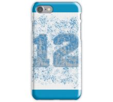 Abstract Twelve Team Spirit - Dark Sky Blue On Silver iPhone Case/Skin