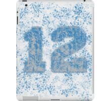 Abstract Twelve Team Spirit - Dark Sky Blue On Silver iPad Case/Skin