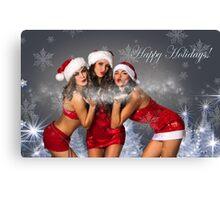 Sexy Santa's Helpers Holiday postcard Wallpaper Template - 3 girls Canvas Print