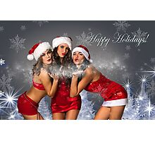 Sexy Santa's Helpers Holiday postcard Wallpaper Template - 3 girls Photographic Print