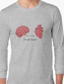 I'm with stupid print Long Sleeve T-Shirt
