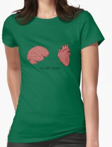I'm with stupid print Womens Fitted T-Shirt