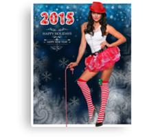 Sexy Santa's Helper postcard wallpaper template design for 2015 Canvas Print