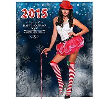 Sexy Santa's Helper postcard wallpaper template design for 2015 Photographic Print