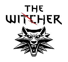 The Witcher Wolf Symbol and text Photographic Print