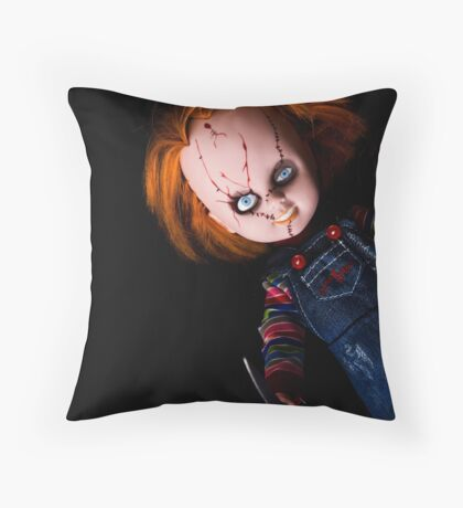 Evil Horror Doll Throw Pillow