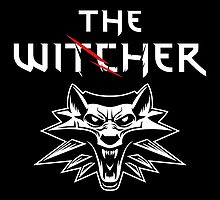 The Witcher Wolf Symbol and text white by DCornel