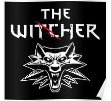 The Witcher Wolf Symbol and text white Poster