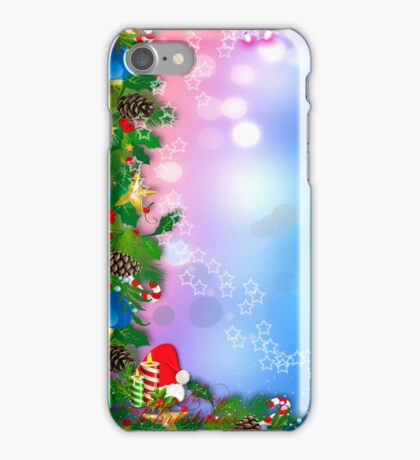 3d two colors winter holiday background with Christmas tree elements iPhone Case/Skin