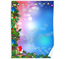3d two colors winter holiday background with Christmas tree elements Poster
