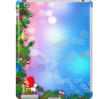 3d two colors winter holiday background with Christmas tree elements iPad Case/Skin