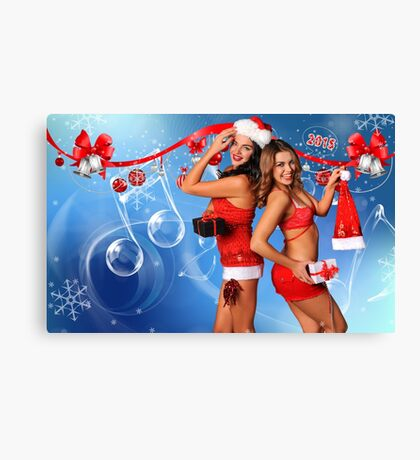 Sexy Santa's Helpers Holiday postcard, Wallpaper, Club Flyer Template with musical notes on blue 3D background Canvas Print