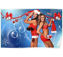 Sexy Santa's Helpers Holiday postcard, Wallpaper, Club Flyer Template with musical notes on blue 3D background Poster