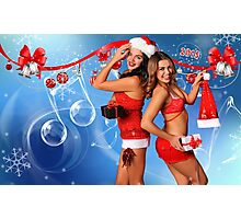 Sexy Santa's Helpers Holiday postcard, Wallpaper, Club Flyer Template with musical notes on blue 3D background Photographic Print