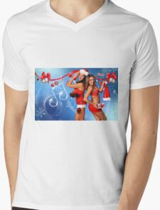 Sexy Santa's Helpers Holiday postcard, Wallpaper, Club Flyer Template with musical notes on blue 3D background Mens V-Neck T-Shirt