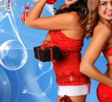 Sexy Santa's Helpers Holiday postcard, Wallpaper, Club Flyer Template with musical notes on blue 3D background Sticker