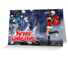 Sexy Santa's Helper holding bag with gifts - Merry Christmas postcard wallpaper template Greeting Card