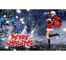 Sexy Santa's Helper holding bag with gifts - Merry Christmas postcard wallpaper template Photographic Print