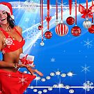 Happy Winter Holidays postcard, wallpaper template  with Sexy Santa's Helper holding a gift box and showing how she lost weight by Anton Oparin