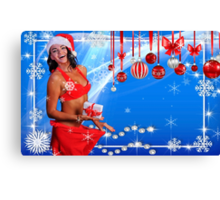 Happy Winter Holidays postcard, wallpaper template  with Sexy Santa's Helper holding a gift box and showing how she lost weight Canvas Print