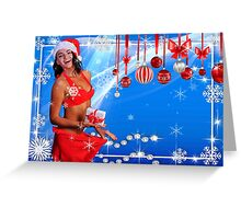 Happy Winter Holidays postcard, wallpaper template  with Sexy Santa's Helper holding a gift box and showing how she lost weight Greeting Card