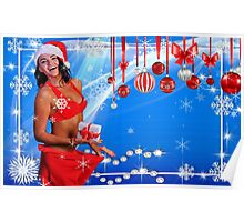 Happy Winter Holidays postcard, wallpaper template  with Sexy Santa's Helper holding a gift box and showing how she lost weight Poster