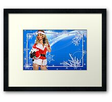Sexy Santa's Helper postcard wallpaper template design with Santa Claus doll Framed Print