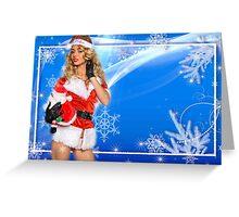 Sexy Santa's Helper postcard wallpaper template design with Santa Claus doll Greeting Card