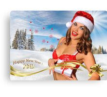 Sexy Santa's Helper girl great image for creating Holiday Greeting postcards or computer wallpapers Canvas Print