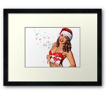 Sexy Santas Helper girl great image on white isolated BG Framed Print