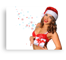 Sexy Santas Helper girl great image on white isolated BG Canvas Print