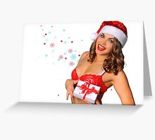 Sexy Santas Helper girl great image on white isolated BG Greeting Card