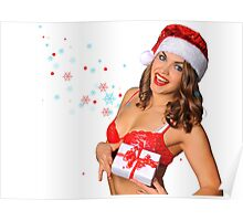 Sexy Santas Helper girl great image on white isolated BG Poster