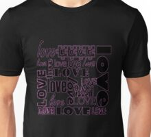 Iskybibblle/ Love is all around pink outline Unisex T-Shirt