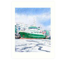 Galway Harbor In Winter - RV Celtic Explorer At Port Art Print