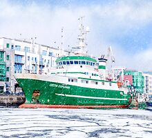 Galway Harbor In Winter - RV Celtic Explorer At Port by Mark Tisdale